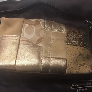 Coach Gold Leather/Suede patchwork Bag